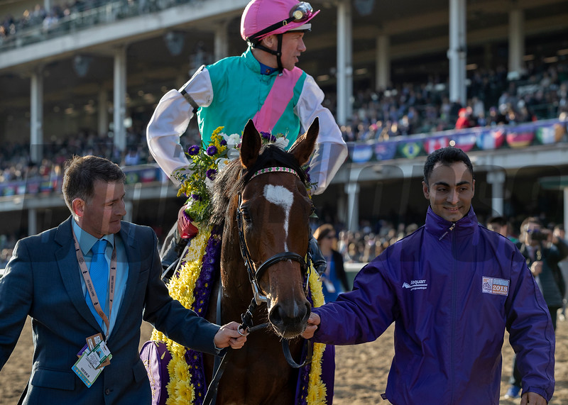 ENABLE wins the Longines Breeders Cup Turf at Churchill Downs, jockey Frankie Dettori up