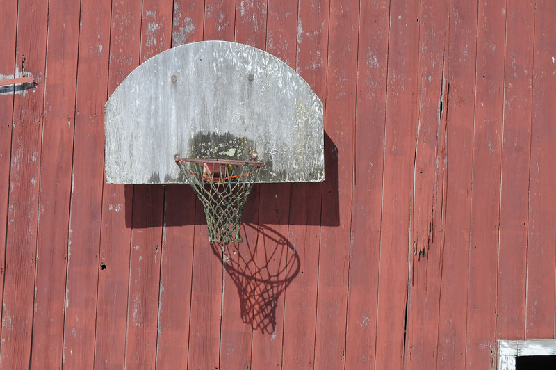 Basketball Goal on Barn