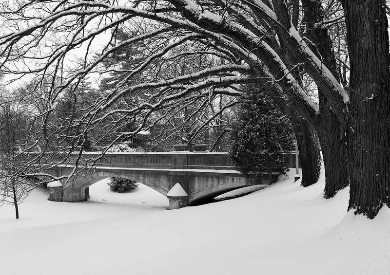 The walking bridge on the campus of St. Mary of the Woods in Vigo County, IN