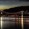 Lions Gate Bridge across Vancouver Bay at night