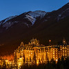 Banff Springs Hotel before sunrise, Banff National Park, Alberta, Canada