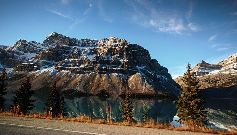 Driving toward Peyto Lake, Banff National Park, Alberta, Canada