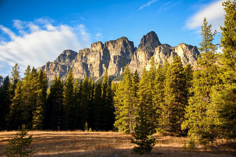Castle Mountain at sunset, Banff National Park, Alberta, Canada