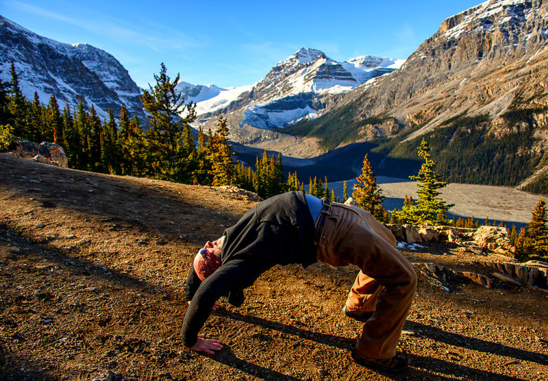 Yoga at Lake Peyto, Banff National Park, Alberta, Canada