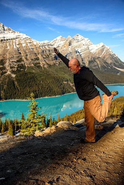Yoga at Lake Peyto, Banff National Park, Alberta, Canada