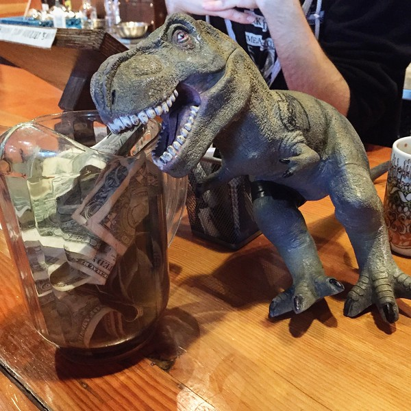 money lovin' T-rex at at Fremont Brewing Co. in Seattle WA