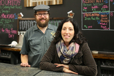 Chris and Christina Sayer, owners of Brewery Legitimus in New Hartford.  Photo by John Fitts