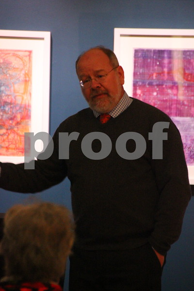The Blanden Museum in Fort Dodge held an opening on Saturday, February 13, 2016 for Brian Frink.  Seen here is the artist Brian Frink as he gives a talk to those attending about him and his artwork on display at the Blanden.