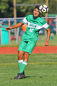 Eli Chong of Brick gets his head on the ball as Brick Township High School takes on Monmouth Regional High School in a boys varsity soccer game in Brick on Tuesday August 3, 2019.  (MARK R. SULLIVAN THE OCEAN STAR)