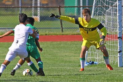 Ryan Kelly goalie for Brick as Brick Township High School takes on Monmouth Regional High School in a boys varsity soccer game in Brick on Tuesday August 3, 2019.  (MARK R. SULLIVAN THE OCEAN STAR)