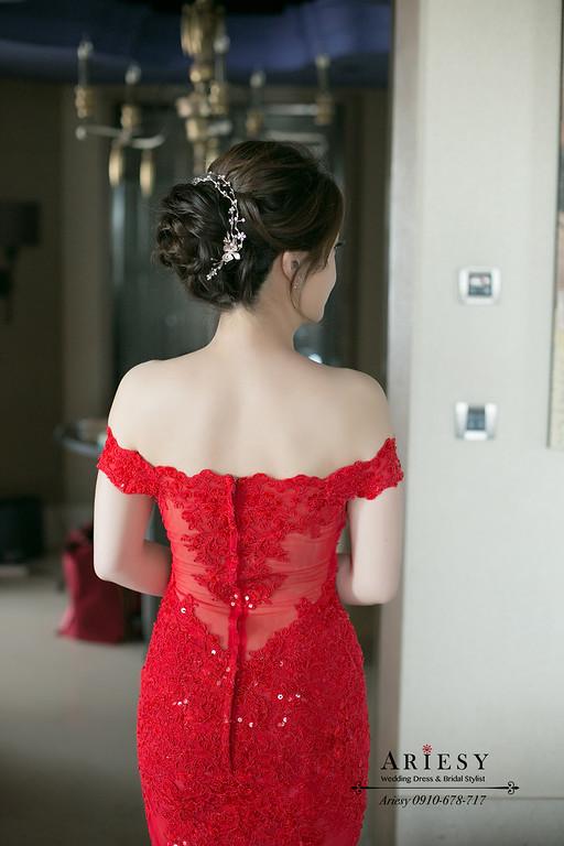 宴客禮服,禮服出租,文定儀式,紅色魚尾晚禮服,新秘Ariesy團隊