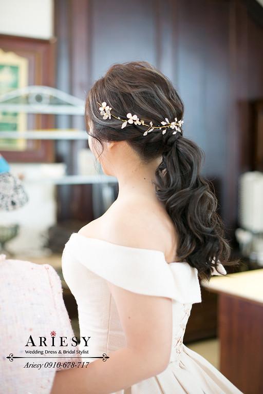 訂婚新秘,新娘秘書,愛瑞思婚紗禮服,宜蘭冬山河香格里拉文定婚宴,ariesy,馬尾文定造型