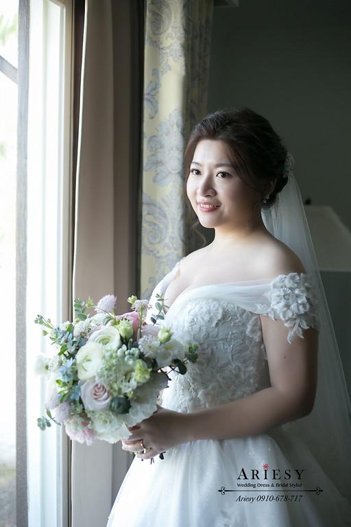 鮮花新秘,新娘秘書,愛瑞思婚紗禮服,宜蘭冬山河香格里拉結婚,ariesy,白紗迎娶新娘造型