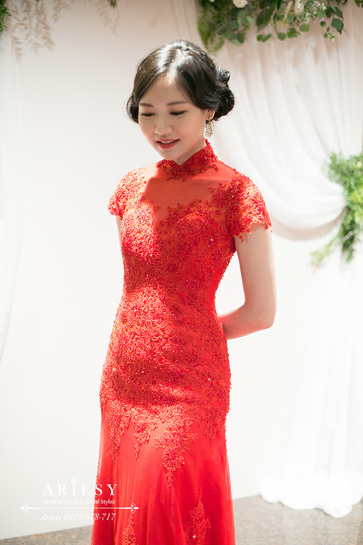 送客造型,旗袍指推造型,復古新娘髮型,台北新秘,遠企婚禮,ARIESY新秘