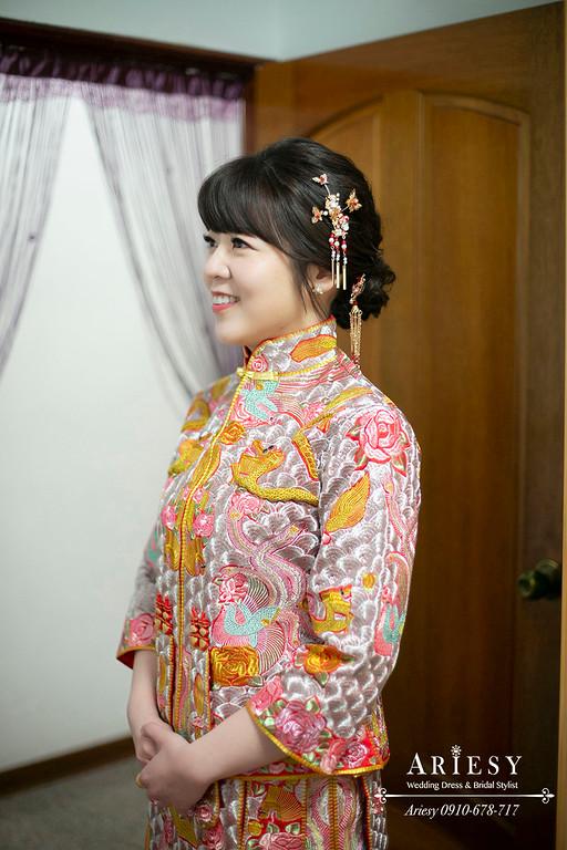 清透新娘妝感,文定新娘髮型,愛瑞思,ARIESY,台北新秘,新娘秘書,龍鳳褂新娘造型