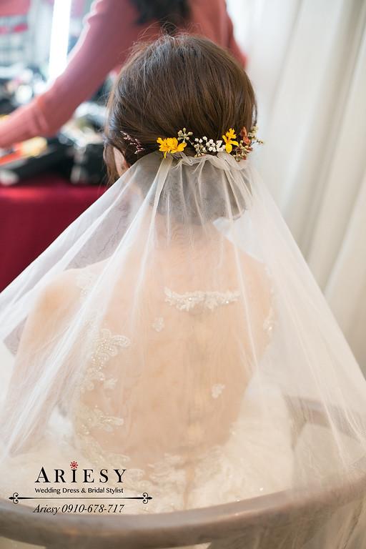鮮花新娘髮型,結婚新秘,新娘秘書,愛瑞思,ARIESY,故宮晶華婚禮