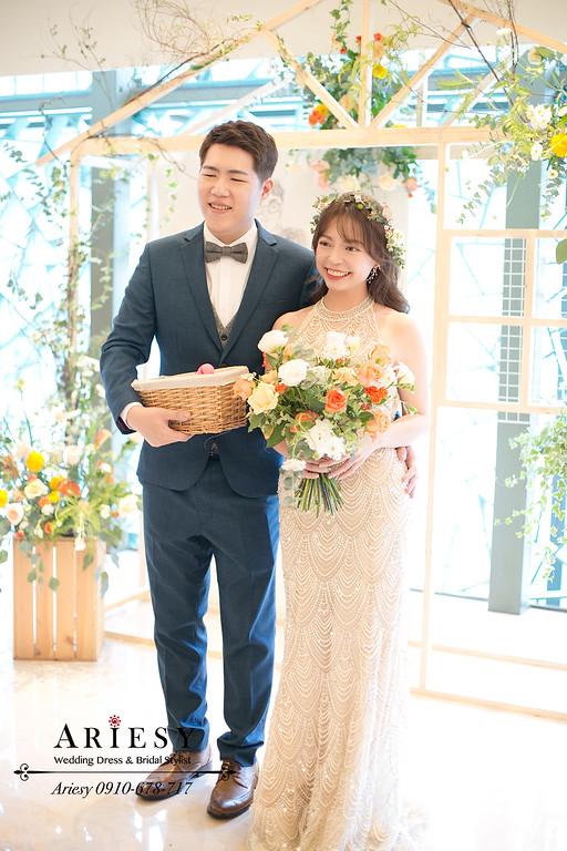 送客花圈新娘造型,鮮花新秘,新娘秘書,愛瑞思,ARIESY,故宮晶華婚禮