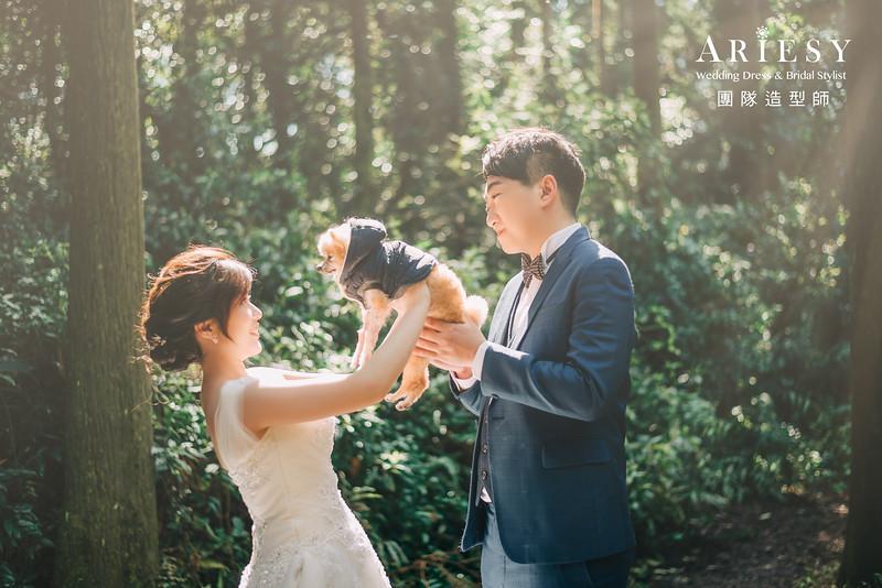 寵物婚紗,黑森林,甜美風格,自然妝感,大屯公園