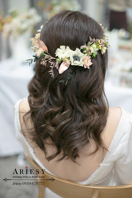 美式鮮花新娘髮型,新娘油頭造型,愛瑞思,ARIESY,美式婚禮