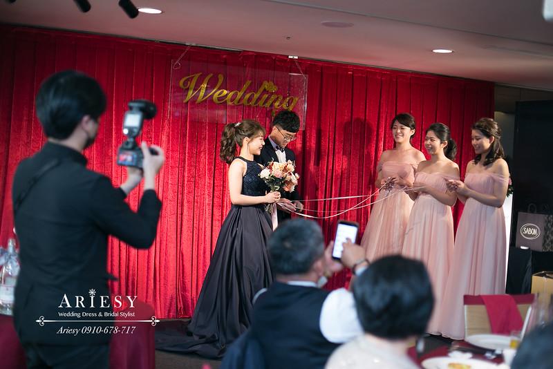 新秘,新娘秘書,晶華酒店婚宴,高馬尾新娘髮型,愛瑞思,ARIESY婚紗禮服