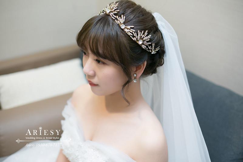 白紗編髮造型,愛瑞思,ARIESY婚紗禮服,新秘,新娘秘書,皇冠新娘進場造型