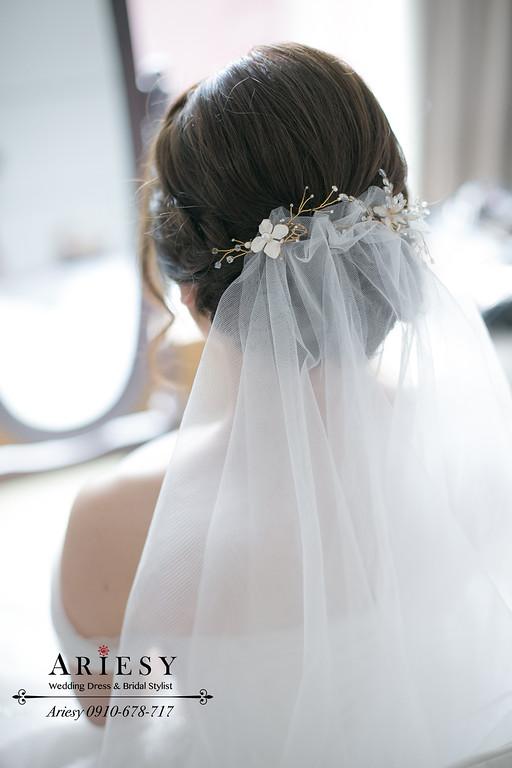 新娘白紗迎娶盤髮,編髮造型,愛瑞思,ARIESY婚紗禮服,新秘,新娘秘書