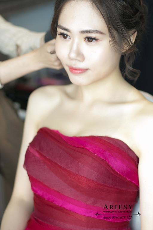 文定造型,盤髮新娘造型,新娘清透自然妝感,桃園新秘,林莉婚紗禮服,新娘秘書