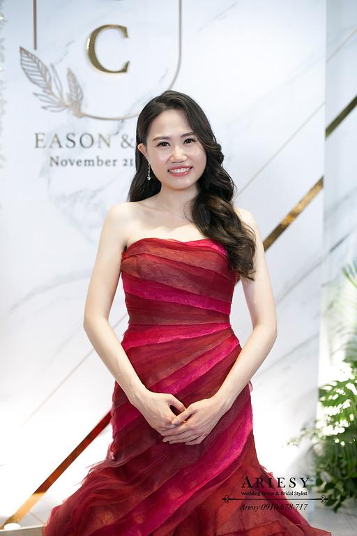 紅色禮服送客新娘髮型,送客新娘造型,新娘髮型,桃園新秘,林莉婚紗禮服,新娘秘書