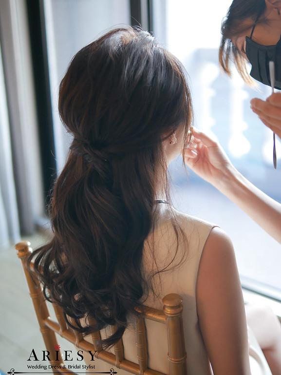 gucci洋裝口紅,美福,新娘秘書,台北新秘ariesy,時尚名媛新娘,韓風新娘髮型,新娘造型