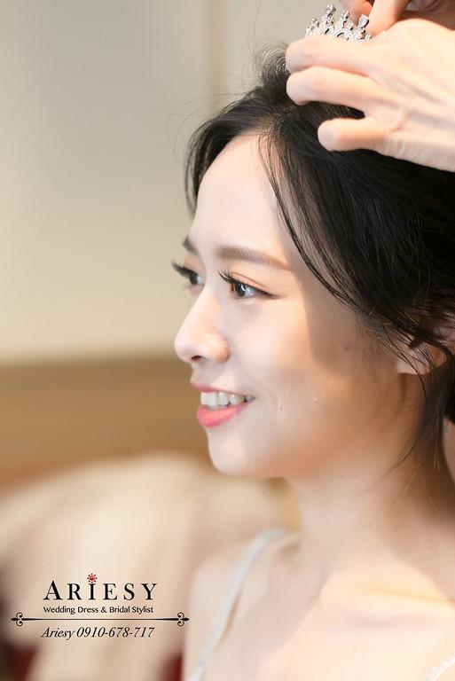 台北新秘推薦,美式婚禮新娘造型,皇冠新娘髮型,愛瑞思,ARIESY,君悅婚禮