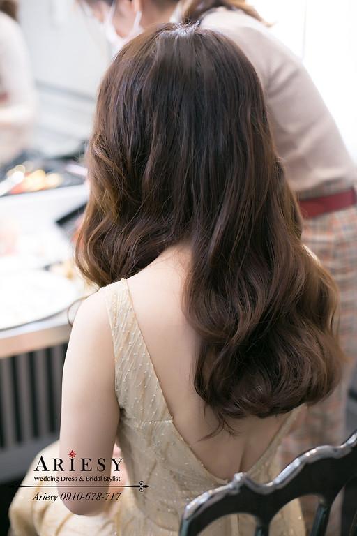 送客新娘造型,新娘秘書,桃園新秘,愛瑞思,ARIESY婚紗禮服,新娘髮型