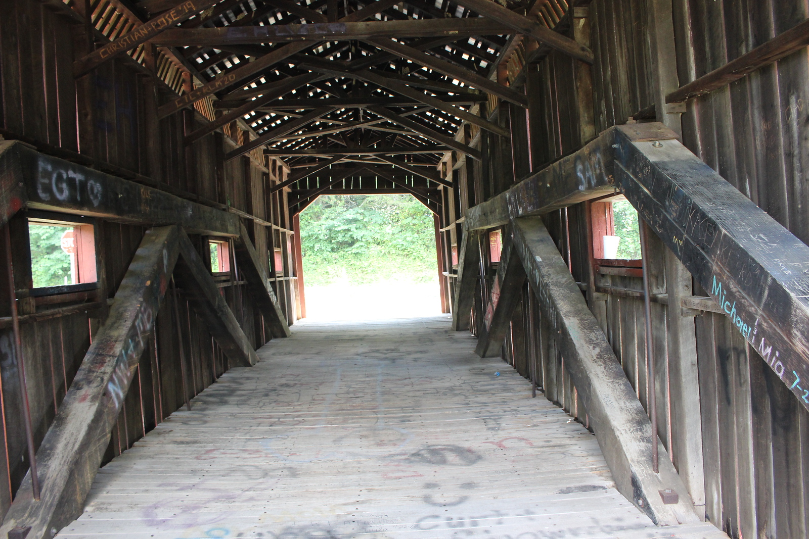 inside Bible Covered Bridge