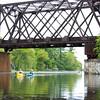 Railroad Bridge with Paddlers