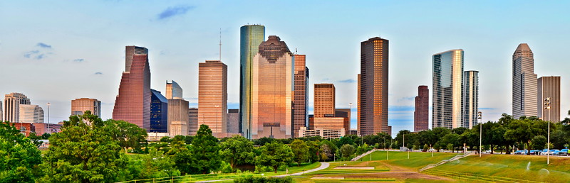 Panorama of the Houston Skyline (9 photos stitched with Microsoft I.C.E.)