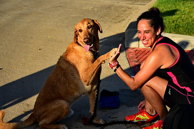 Saturday Doggie Splash 'N Dash at Cypress Triathlon at Bridgeland 7-30-2016