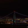 Verrazano–Narrows Bridge with fireworks from Coney Island