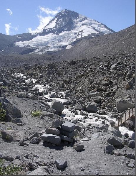 Bridge lower right.  Elliot Glacier above.