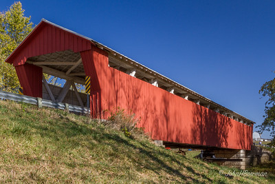 McColley covered bridge, blt 1876 restored ??; 125-ft Howe truss span on CR13 over Great Miami River SW of Lewistown, Logan County; closed when we visited - neighbor said it was closed for renovation last year, had just been closed again, reason not known