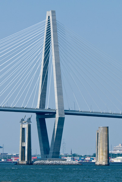 Ravenel Bridge and two support towers for the old Bridges.