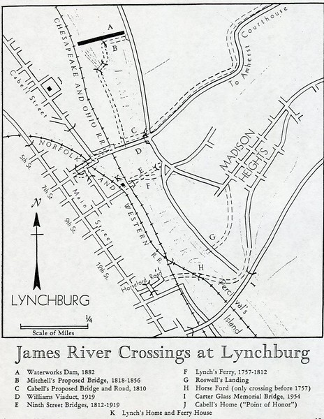 Map of James River Crossings at Lynchburg (4210)