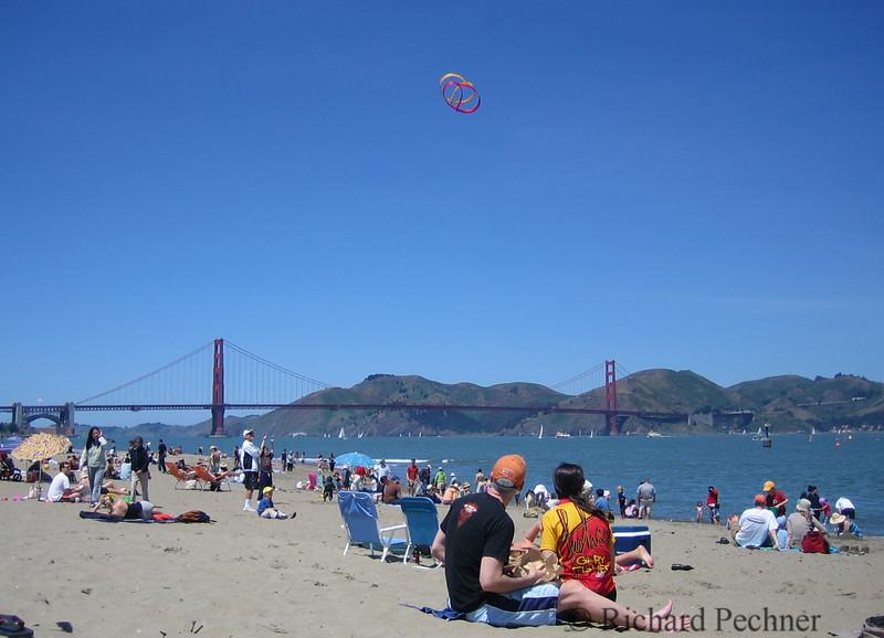 Flying a kite over the Golden Gate