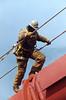 Bridge worker climbing cable