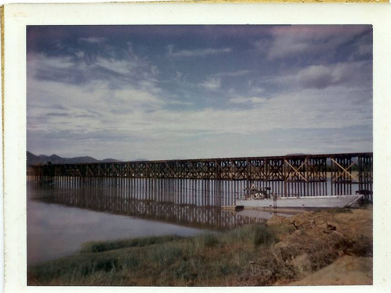 Liberty Bridge-Longest Timber Bridge in Vietnam at 2,040 Feet and 35ft Above the Thu Bon River. Built at An Hoa-21 Miles SW of Da Nang by MCB-4