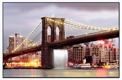 Brooklyn Bridge n Waterfall Manhattan NY