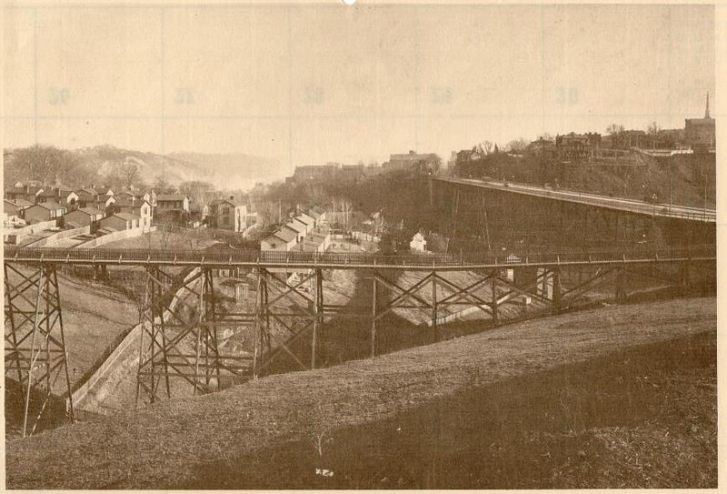 D Street Bridge and Rivermont Bridge (right), looking east from Victoria Avenue, 1910 (4237)
