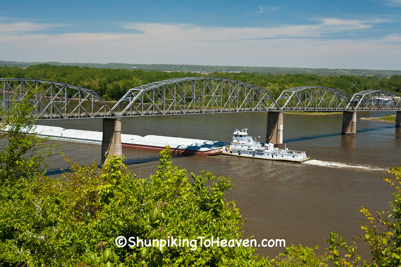 Tugboat and Barges under Champ Clark Bridge, Pike County, Missouri