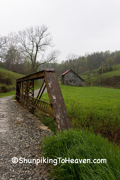 Rusty Metal Truss Bridge and Gray Barn, Monroe County, Ohio