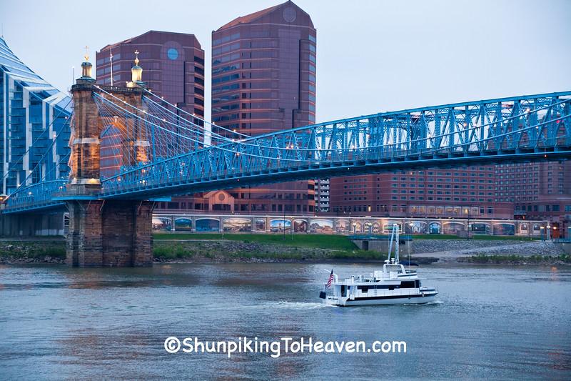 Boat and John A. Roebling Suspension Bridge, Cincinnati, Ohio