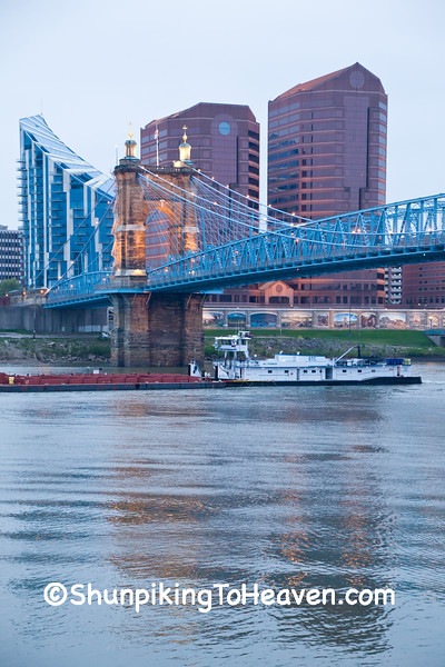 Tugboat & Barge under John A. Roebling Suspension Bridge, Cincinnati, Ohio