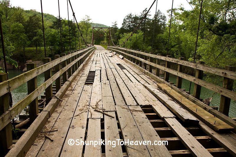 Swinging Bridge Damaged in Flood, Stone County, Arkansas